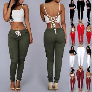 Women Casual Pencil Pants Ladies Skinny High Waist Pocket Cargo Combat Trousers