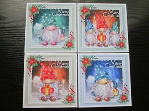 BUMPER SET ==  4 x  CHRISTMAS GNOMES Card Toppers & Sentiments
