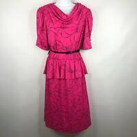 Vintage 80s LA II Pink Black Floral Belted Peplum Secretary Dress Size M/L