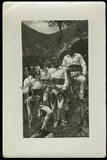 Vintage Photo Men in Ethnic Ornate Clothing With Axes Mountains Alps ? 1941