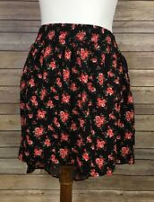 Deb 1X Floral Skirt NWT Hi Lo Hem Black Roses Elastic Waistband