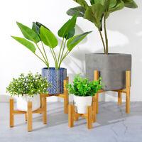 KE_ Garden Planter Holder Wooden Plant Stand Flower Pot Shelf Rack Display Org