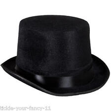 MENS ADULT BLACK VELOUR SMALL LINCOLN GUY FAWKES RINGMASTER TOP HAT FANCY DRESS