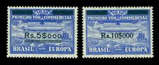 "BRAZIL 1930 AIRMAIL -  ""Graf Zeppelin""  surcharged set  Sc# 4CL4-5  mint MLH"