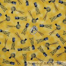 BonEful Fabric FQ Cotton Quilt Yellow Black Gray Windmill Dutch Farm Scenic Baby