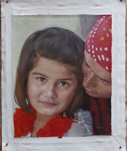 "Fine art original oil painting portrait of Indian young girl and mother 16""x20"""