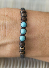 Bracelet brésilien amitié noir perles bleu turquoise et bois Surfer - 21170 -FS9