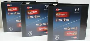 "3 Avery Heavy Duty Clear Cover 4"" 3 D-Ring Binders Black"
