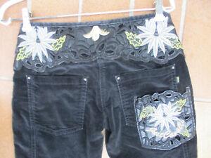 Cavalli Damen Hose Samt Applikation Jeans Stil Unikat Vintage xs-s