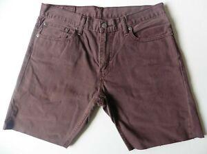 Men's Levis Denim Shorts W33 Burgundy Levi Strauss 514