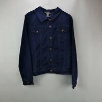 Martha Stewart Denim Button Front Jean Jacket Dark Indigo M    A309516
