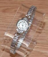 Vintage Elgin 10K Gold Filled Wind Up Watch with Diamonds & Speidel Band *READ*