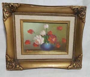"Framed original ""Rose Flower"" oil painting on Canvas Signed S22x27 cm"