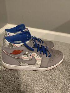 Nike Air Jordan Retro 1 LS Stealth Grey Blue Red Size 12.
