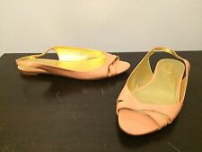 J. Crew Peach / Salmon slingback open toe strappy dress flats Sz 7 Made in Italy