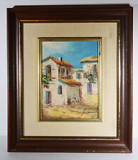 """Vintage 9"""" Acrylic Watercolor Painting on Wood Signed Old Tuscan Houses Village"""