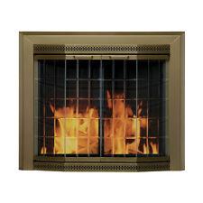 NIB ~ Elegant Large Brass-Finish FIREPLACE DOORS w/ Steel Mesh Screen (Grandior)