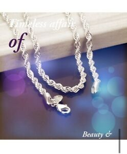 """4mm Sterling Silver Rope Chain Necklace - Heavy Weight - Length 20"""""""