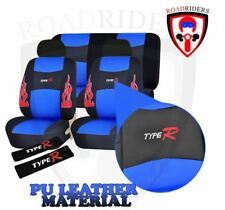 Type R Universal Fit PU Leather Car Seat Cover Set - BLUE