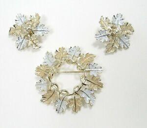 "Sarah Coventry  ""Garland"" 1968 Leaf Brooch Earrings Set Silvertone Goldtone Demi"