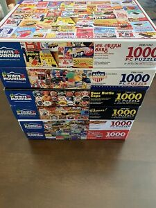 LOT 6 WHITE MOUNTAIN 1000 PIECE JIGSAW PUZZLES CHEERS ICE CREAM BARS BEER CAPS