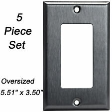 5 Pack Brushed Stainless Oversized Wall Plate 1 Gang Decorator Outlet Cover GFCI