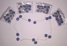 "Kashmiri Blue Sapphire Silver Plated 5 Pcs Necklace Chain,36"""