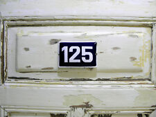 Vintage Sign House Door Number 125, Blue and White Enamel Metal Plate Authentic