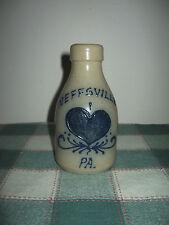 Maple City Pottery Blue Heart NEFFSVILLE PA Salt Glazed Bottle Monmouth IL Neff