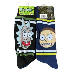 Rick and Morty HYP Crew Socks (2) Pairs Adult Swim Mens Faces Size 6-12 A2 NEW