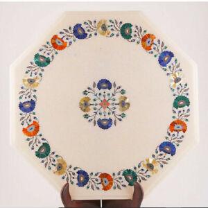 "18"" Marble Side Table Top Semi Precious Stones Floral Inlaid Art Handmade work"