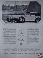 PUBLICITÉ 1929 CADILLAC GENERAL MOTORS LA VENISE DU NORD A AUSSI SES GONDOLES
