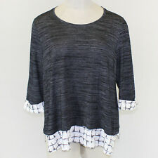 NEW Catherines Plus Crew Neck Gray Fall Winter Top Shirt Blouse 1X