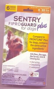 Sentry Fiproguard Plus for Dogs 4-22 pounds Flea & Tick 3 Pack-New