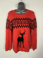 WOMENS NEXT SIZE UK 12 RED CHRISTMAS PATTERN KNITTED JUMPER SWEATER PULL OVER