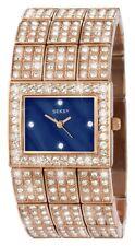 Sekonda Seksy Ladies Rose Gold Effect Crystal Set Watch Square Blue Dial 2235