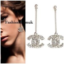 CHANEL Silver Crystal Embellished CC Long Earrings STUNNING!