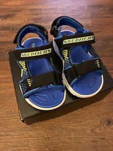 New Boys Skechers Light Up Black Blue Strap Spring Summer Beach Sandals Shoes 7