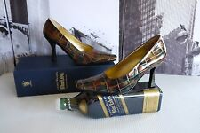 FABULOUS TH Timothy Hitsman Bronze Gator Leather Pumps US 6 SPAIN !! Rare !!