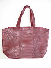 Vintage Neiman Marcus Faux Crocodile Leather Burgundy Wine Red Tote Bag