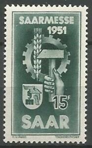 Germany Saar French Occupation 1951 MNH Saar Fair (Emblem) Mi-306 SG-303