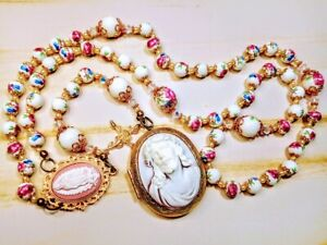 Victorian Style Ceramic Rose Mary Guadeloupe Jesus Cameo Locket Rosary Swarovski
