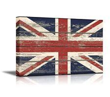 "Canvas - Flag of UK / Union Jack on Vintage Wood Board Background 24"" x 36"""