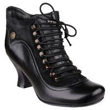 Hush Puppies Vivianna Women's Black Medium Heel Zip up Leather Shoe BOOTS UK 6