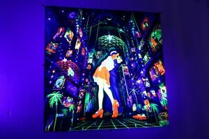 Blacklight Tapestry Neon Glow Psytrance Wall Hanging UV Active Wall Decor Rave
