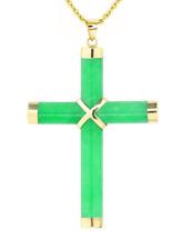 "Green Jade Cross - 14K Yellow Gold Jade Cross Pendant 1 3/4"" Total Drop"