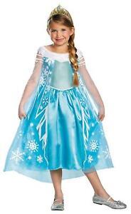 GIRLS DISNEY FROZEN ELSA DELUXE DRESS & TIARA COSTUME SIZE 7-8 DG56998