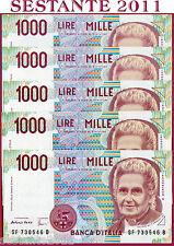 ITALIA ITALY - 1000 1.000 LIRE MONTESSORI F  1996 -  5 NOTES -  P 114c - FDS/UNC