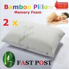 2x Anti-bacteria Luxury Bamboo Pillows Memory Foam Fabric Fibre 60 x 40 cm