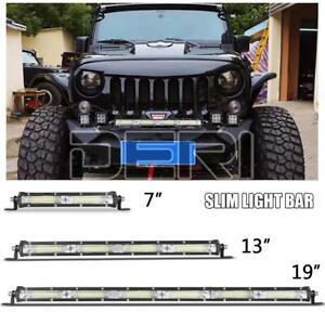 7in 13in Slim LED Work Light Bar Wide Flood Fog Driving Lamp UTV ATV SUV Truck